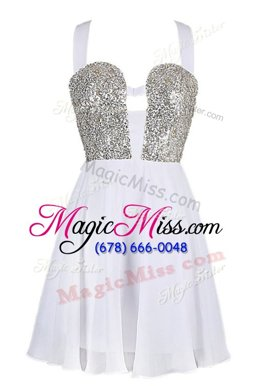 Adorable Sequins White and Navy Blue Sleeveless Chiffon Criss Cross Homecoming Dress for Prom and Party