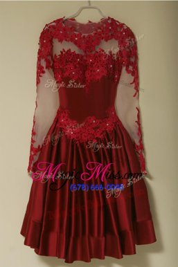 Custom Design Red A-line Satin Scoop Long Sleeves Appliques Knee Length Zipper Mother Of The Bride Dress
