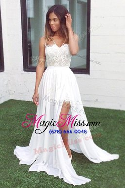 Modest Sleeveless Chiffon Sweep Train Zipper Evening Dress in White for with Lace