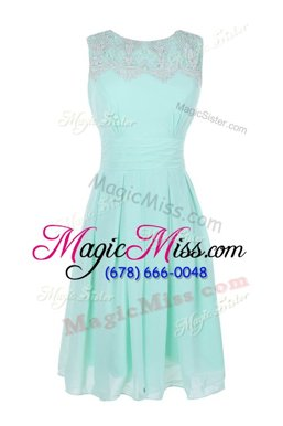 Light Blue Sleeveless Chiffon Zipper Prom Gown for Prom and Party