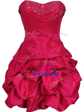 Ball Gowns Military Ball Gowns Black and Red Sweetheart Taffeta Sleeveless Mini Length Lace Up