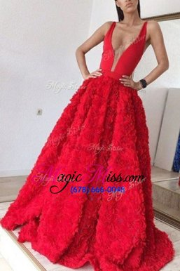 High Quality Sleeveless Brush Train Appliques Zipper Celebrity Inspired Dress