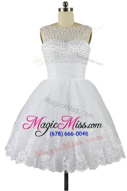Super White Zipper Bateau Beading and Appliques Homecoming Party Dress Organza Sleeveless