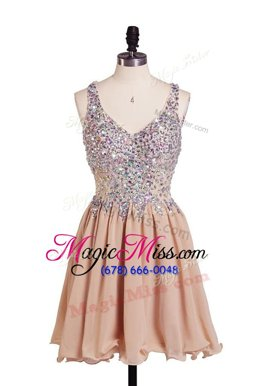 Lovely Beading Dress for Prom Peach Side Zipper Sleeveless Knee Length