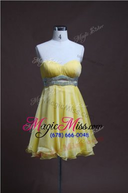 New Style Light Yellow Organza Backless Homecoming Dresses Sleeveless Mini Length Beading
