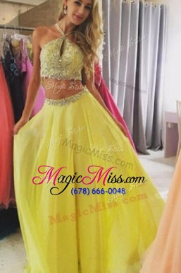 Smart Halter Top Sleeveless Chiffon Prom Gown Beading Zipper