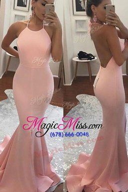High Quality Mermaid With Train Backless Formal Evening Gowns Pink and In for Prom and Party with Beading Sweep Train
