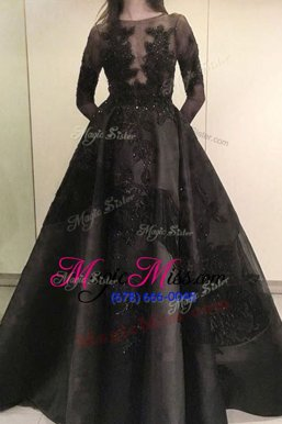 Colorful Black Zipper Bateau Beading and Appliques Military Ball Gown Satin Long Sleeves