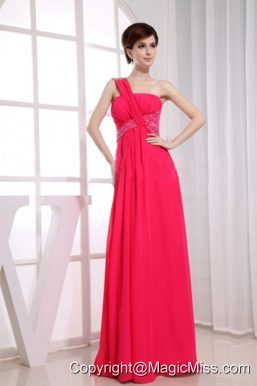 Beading One Shoulder Chiffon Hot Pink Empire Floor-length Prom Dress