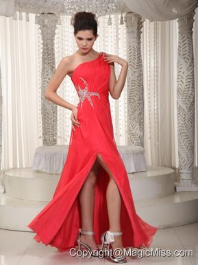 Elegant Empire One Shoulder Floor-length Chiffon Beading Prom / Evening Dress
