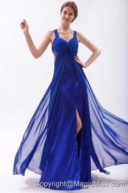 Royal Blue Empire Straps Floor-length Chiffon Beading Prom Dress