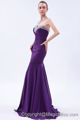 Purple Trumpet Sweetheart Beading and Ruch Prom Dress Brush Train Chiffon
