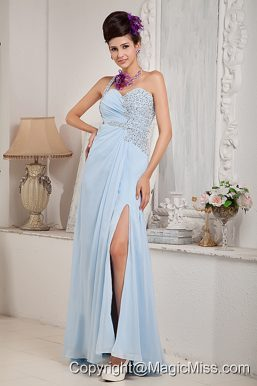 Light Blue Empire One Shoulder Floor-length Chiffon Beading Prom Dress