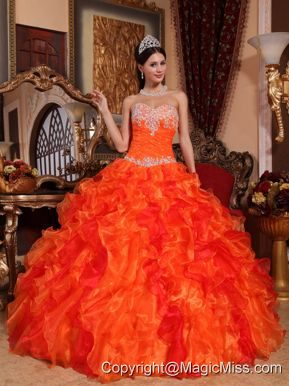 Orange Ball Gown Sweetheart Floor-length Organza Appliques and Beading Quinceanera Dress