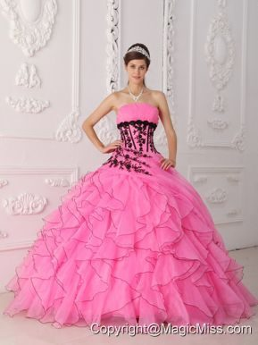 Sweet Ball Gown Strapless Floor-length Appliques and Ruffles Hot Pink Quinceanera Dress