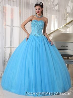 Sky Blue Ball Gown Sweetheart Floor-length Tulle Beading Quinceanera Dress