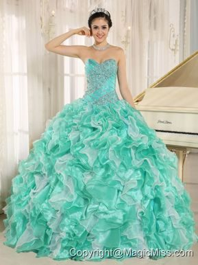 Apple Green Beaded Bodice and Ruffles Custom Made For 2013 Quinceanera Dress In Anderson California