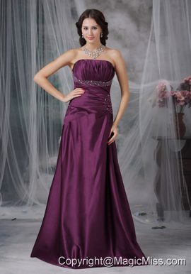 Dark Purple A-line Strapless Floor-length Taffeta Beading Prom Dress
