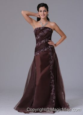 Wholesale Brown Column Appliques Decorate 2013 Prom Celebity Dress With Strapless In Bloomfield Connecticut