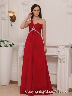 Red Empire One Shoulder Floor-length Chiffon Beading and Rush Prom Dress