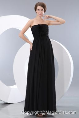Black Empire Strapless Floor-length Chiffon Hand Made Flowers Prom / Evening Dress
