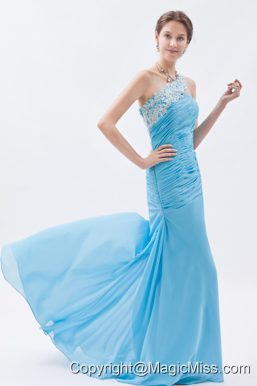 Baby Blue Mermaid One Shoulder Prom Dress Chiffon Beading Brush Train