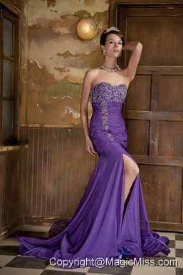 Purple Mermaid Sweetheart Brush Train Chiffon Beading Prom Dress