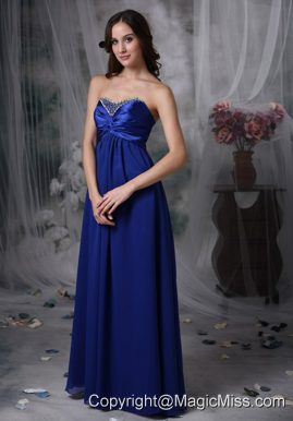 Royal Blue Empire Sweetheart Floor-length Beading Chiffon and Elastic Wove Satin Prom Dress