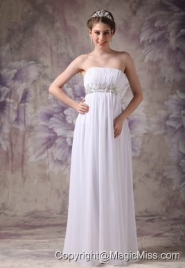 White Empire Strapless Floor-length Chiffon Appliques Prom / Evening Dress