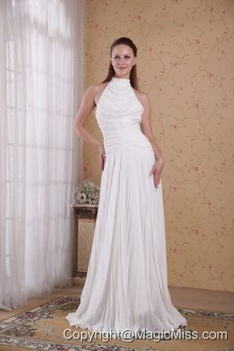 White Empire High-neck Floor-length Organza Pleat Prom Dress