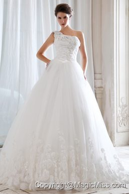 Unique Princess One Shoulder Court Train Tulle Beading and Appliques Wedding Dress
