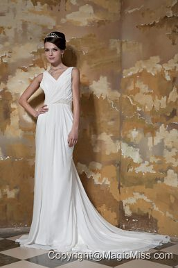 Simple Column V-neck Court Train Chiffon Beading Wedding Dress