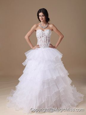 Populor A-line Sweetheart Chapel Train Organza Appliques Wedding Dress