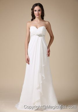 Elegant Empire Sweetheart Brush Train Chiffon Beading Wedding Dress