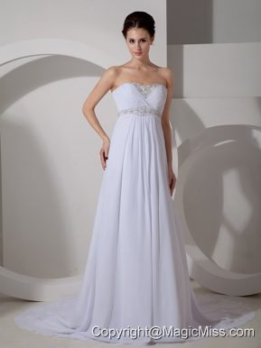 Best Column Sweetheart Court Train Chiffon Appliques Wedding Dress