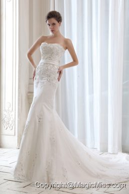 Best Mermaid Strapless Court Train Satin Beading and Appliques Wedding Dress