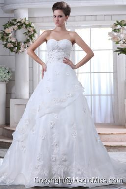 Pretty A-line Sweetheart Brush Train Organza Beading Wedding Dress