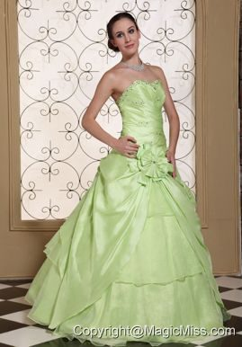 03e6116ef49 Beaded Decorate Bust Sweet Prom Dress For 2013 Yellow Green Taffeta and  Organza Gown