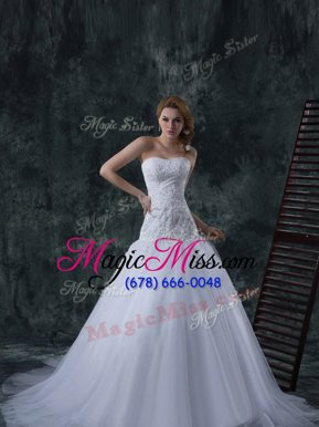Top Selling Court Train Column/Sheath Wedding Dress White Strapless Tulle Sleeveless With Train Lace Up