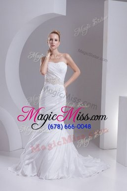 Elegant Mermaid Sleeveless White Bridal Gown Brush Train Lace Up