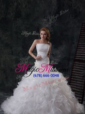 Amazing Organza Strapless Sleeveless Brush Train Lace Up Ruffles and Ruching Wedding Dress in White