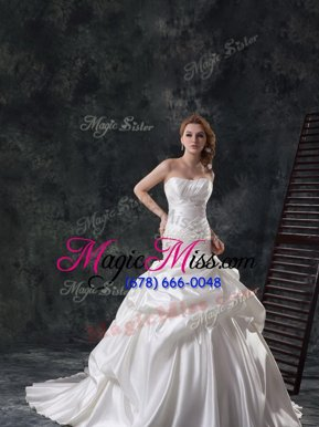 Sexy Mermaid Sleeveless Taffeta Brush Train Lace Up Wedding Gowns in White for with Beading and Ruching and Pick Ups