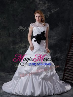 Low Price Lace Up Wedding Gowns White and In for Wedding Party with Beading and Ruching and Pick Ups and Hand Made Flower Brush Train