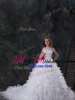 Scoop Sleeveless Beading and Ruffles Lace Up Wedding Gowns with White Chapel Train