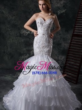White Mermaid Beading and Appliques and Ruffles Wedding Dresses Lace Up Organza Sleeveless