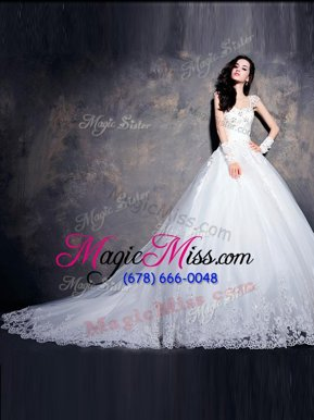 Delicate Cap Sleeves With Train Beading and Appliques Lace Up Wedding Gown with White Court Train