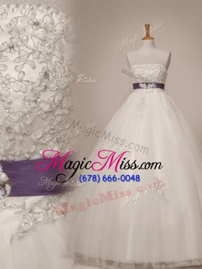 Cute White Tulle Lace Up Strapless Sleeveless Floor Length Bridal Gown Beading and Appliques and Sashes|ribbons