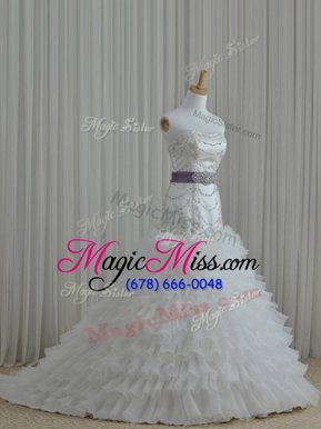 Excellent White Ball Gowns Organza Strapless Sleeveless Beading and Ruffles and Belt Floor Length Lace Up Wedding Gown