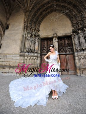 Excellent One Shoulder Lace Up Bridal Gown White and In for Wedding Party with Lace Cathedral Train