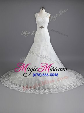 Customized Mermaid White Lace Up Wedding Gowns Beading and Lace Sleeveless With Train Chapel Train
